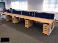 Eight seater desk pod with partitions each desk is 1400mm