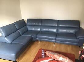 Navy leather corner sofa 1year old