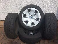 BMW winter tyres series one 2011 on steel wheels BMW wheel trims. Excellent condition. £265