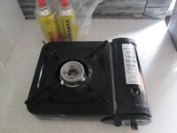 camping/fishing stove with spare gas cannisters