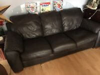 Italian leather chocolate 3 seater sofa - expensive!!!