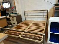 Metal king-size bed frame with deluxe orthopaedic mattress (new)