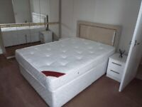 Divan Base Double Bed with Cream Crushed Velvet Headboard with Mattress