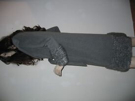 Grey Wool Coat with Mohair Trim (Size 42)