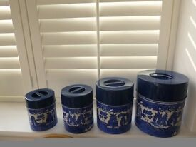 1970's SET OF BLUE WILLOW TIN STORAGE TINS - RETRO