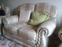 Two Seater 3 Piece Suite & matching Storage pouffee Seat,