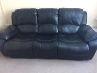 3 Seater Black Recliner Leather Sofa