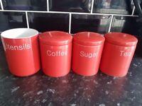 Ceramic Red Tea,Sugar,Coffee and Utensil Pots