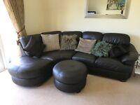 Brown Leather Corner Sofa Armchair & Footstool