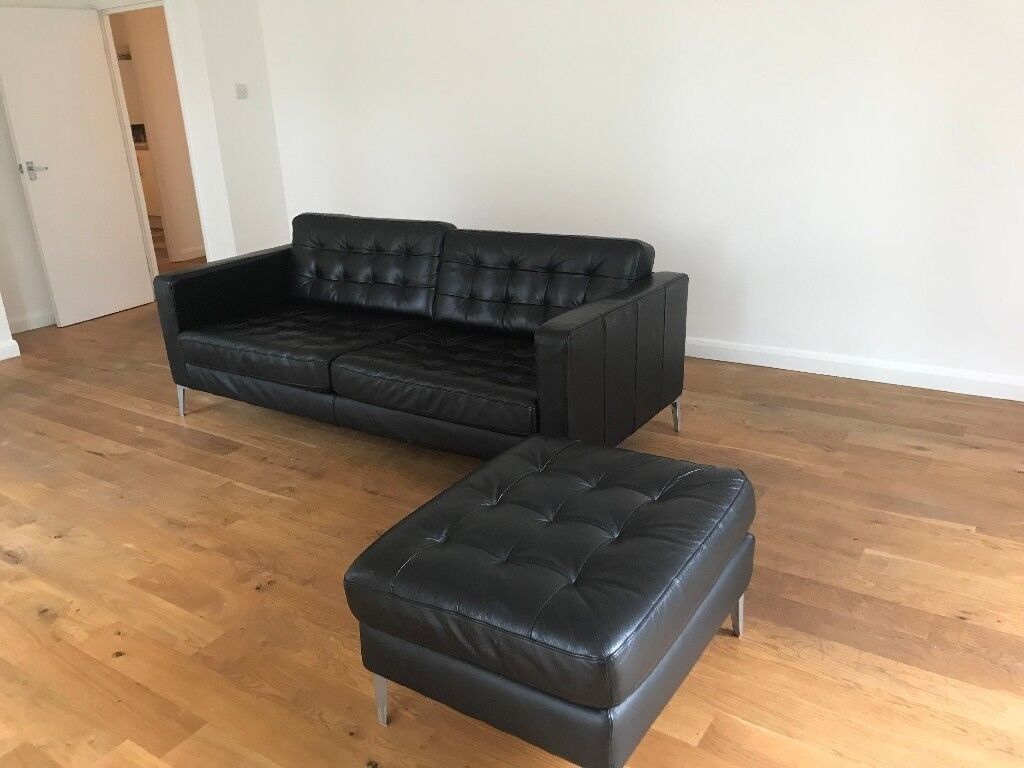 Ikea Black Leather 3 Seater Sofa Stool Landskrona In