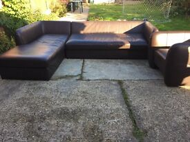 BROWN LEATHER CORNER SINGLE DOUBLE SOFA BED TUB CHAIR GREAT CONDITION