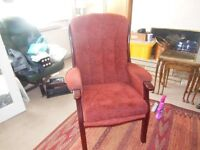 Arm chairs, upright x 2