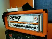 ORANGE THUNDERVERB 50 VALVE GUITAR HEAD AMP/ DOUBLE FOOT SWITCH, AND COVER.