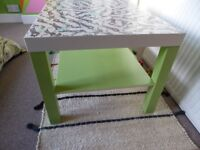 Decoupage Coffee Table - leopard animal print with green legs and shelf