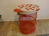 Red fish toy storage/clothers hamper, collapsable