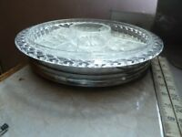 Rotary self serve auderve glass with metal base