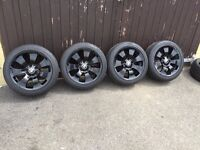 "4 x Genuine BMW 17"" Star-Spoke 158 Alloy Wheels and 6 x Very Good Tyres (2 Spares)!!"