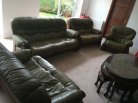 5 piece sofa set - dark green leather suite with wooden frame