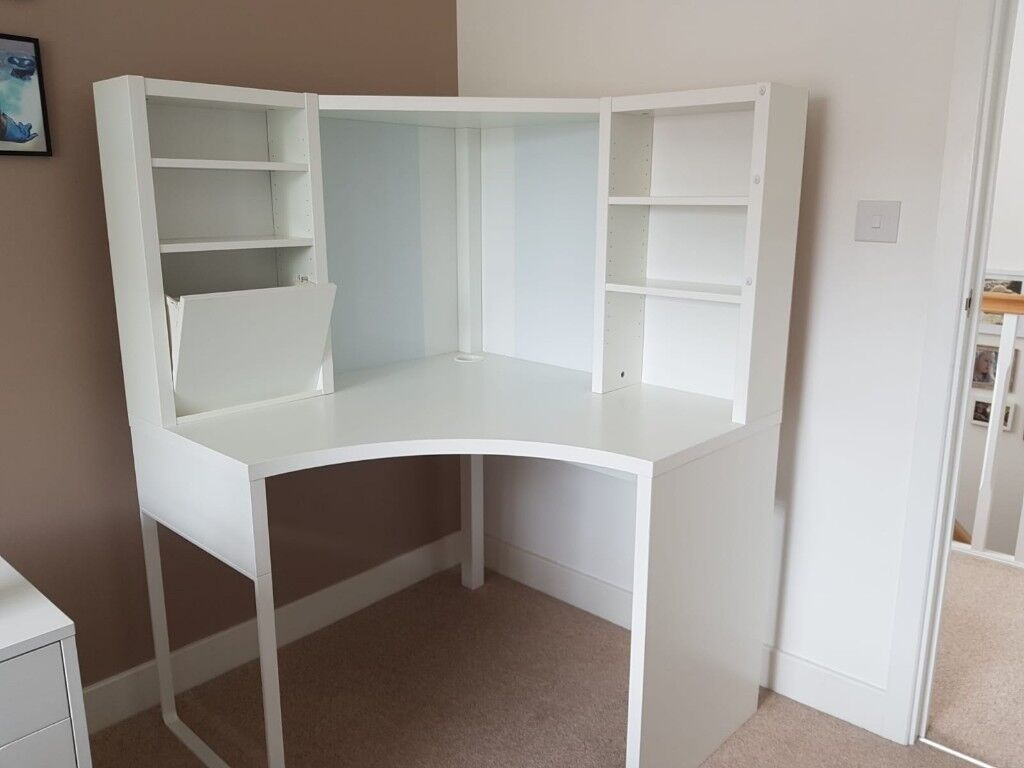 Ikea Micke White Corner Desk Unit Complete With Ings Instructions In