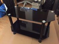 TV Table - Black Glass, 70x35cm