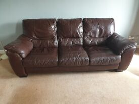 Free- 3 seater leather sofa and single arm chair