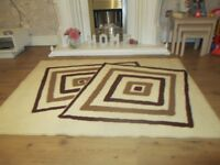 Cream, beige and brown patterned rug 158cm x 117cm