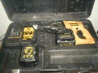 dewalt 24v sds hammer drill with 2 batteries