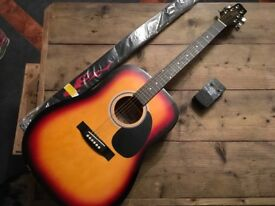 STAGG ELECTRIC ACOUSTIC GUITAR WITH STRAP AND TUNER AS NEW