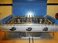 Campingaz Chef stove (Double burner with grill) & 2.75k gas bottle, regulator and tube.