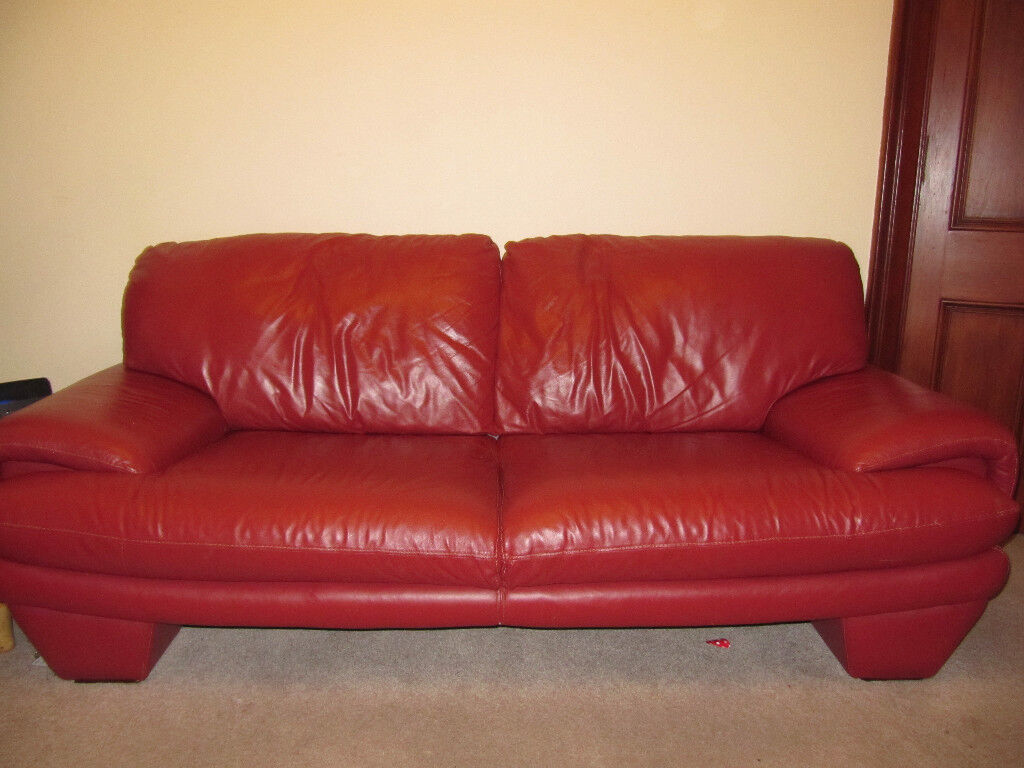 Large Comfortable Hand Stitched Red Italian Leather Sofa