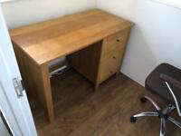 Genuine Pine office/study desk with 3 drawers (comes with executive leather chair!)