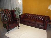 LEATHER CHESTERFIELD SUITE