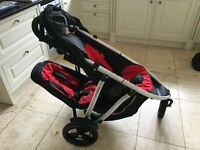 Phil and Teds black and red Vibe pushchair (excellent condition)