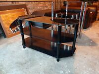 Black Glass Topped TV Stand