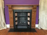 Fire place. Decorative Victorian Fireplace, all its original tiles, with pine mantelpiece