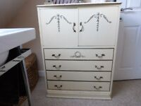 Old 4 drawer chest with 2 door cupboard