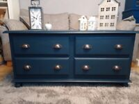 Beautiful Solid Pine Chest of Drawers Painted in Frenchic After Midnight Navy