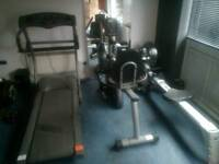 Home gym, treadmill, rowing machine and recumbent bike