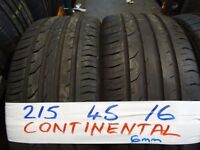 4x 215 45 16 matching contis 6mm tread £90 SUPP & FITD OPEN 7-DAYS TIL 5PM (LOADS MORE AV TXT SIZE
