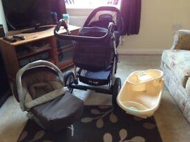 Pram/ car seat and baby bath