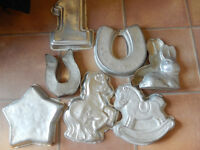 7 Wilton Pony themed cake tins: My Little Pony, Rocking Horse, Horseshoes, Star, Nr 1, 3D Bunny