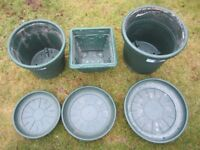 Elho International Holland selection of green plant containers / saucers - Made in England