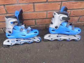 SPORTS DIRECT BLUE & GREY IN LINE ROLLER SKATES /BLADES SIZE 4