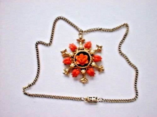 vtg CORAL PEARLS pendant Gold TONE necklace