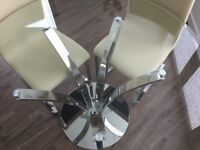 John Lewis Moritz Glass Top Dining Table, Stainless Steel & 4 Leather/Stainless Steel Dining Chairs