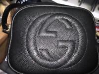 Gucci Black leather long strap bag