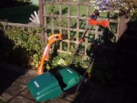 QUALCAST CONCORDE 32 LAWNMOWER + FLYMO STRIMMER IN NEW CONDITION .