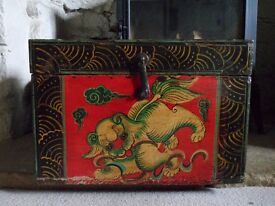 Vintage Wooden Chinese Dragon/Dog chest