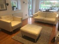 IKEA Leather Sofa, Chair and Footstool