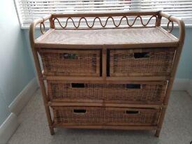 Cane/wicker storage unit with drawers